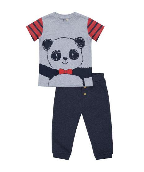 Conjunto-de-Camiseta-Cinza-Mescla---Calca-em-Moletom-Azul-Marinho-8341568-Azul_Marinho_1