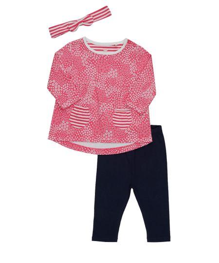 Conjunto de Blusa Estampada Floral + Calça Azul Marinho + Faixa de Cabelo Rosa