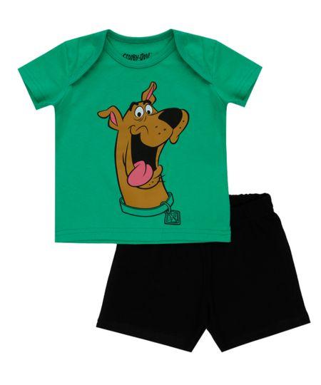 Conjunto de Camiseta Verde + Bermuda Scooby Doo Preta