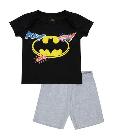 Conjunto de Camiseta Preta + Bermuda Batman Cinza Mescla