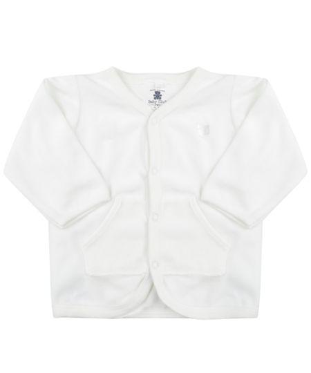 Cardigan Unissex em Plush de Algodão + Sustentável  Branco