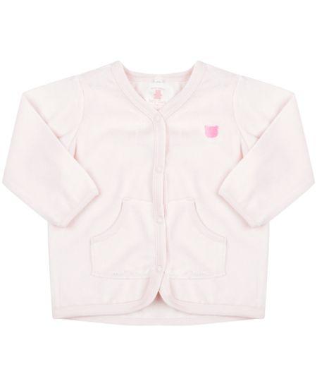 Cardigan em Plush de Algodão + Sustentável  Rosa Claro