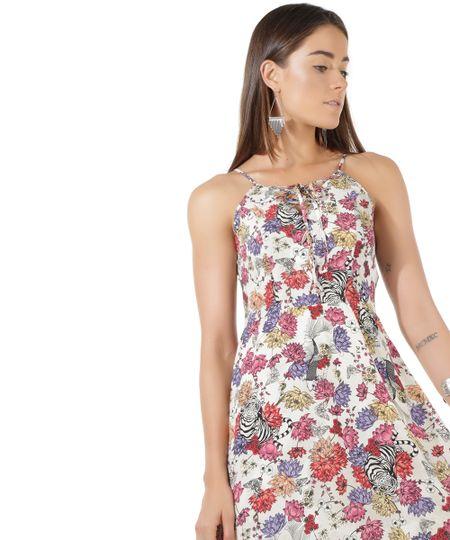 Vestido Estampado Floral Bege Claro