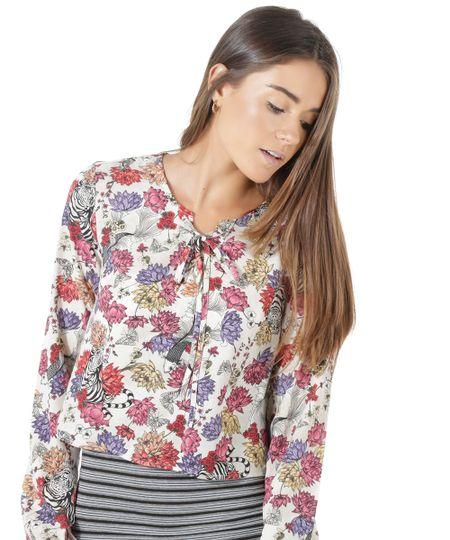 Blusa Estampada Floral Bege Claro