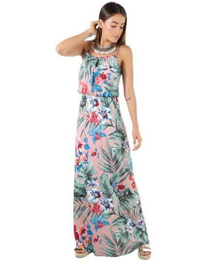 Vestido Longo Estampado Floral Rosa Claro