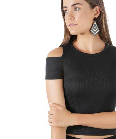 Blusa Open Shoulder Canelada Preta