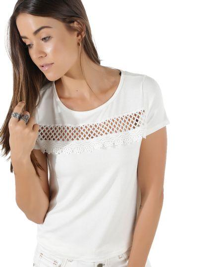 Blusa Cropped com Renda Off White