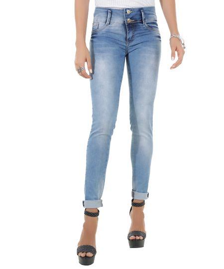 Calça Jeans Skinny Modela Bumbum Sawary Azul Médio