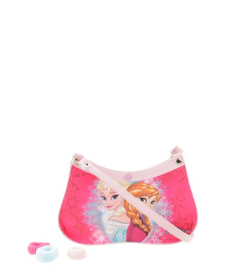 Bolsa Frozen com Elásticos de Cabelo Rosa