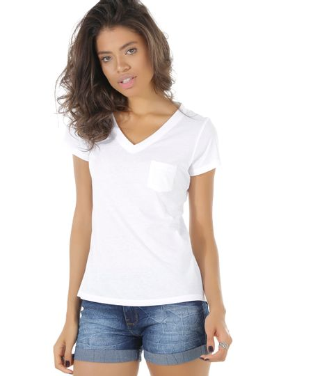Blusa Básica com Bolso Branca