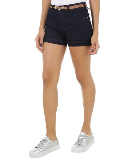 Short Jeans Reto com Cinto Azul Escuro
