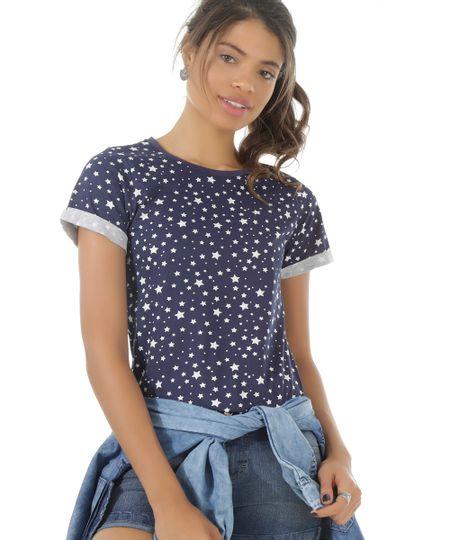 Blusa Estampada de Estrelas Azul Marinho