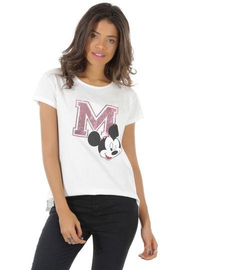 Blusa Mickey em Algodão + Sustentável Off White