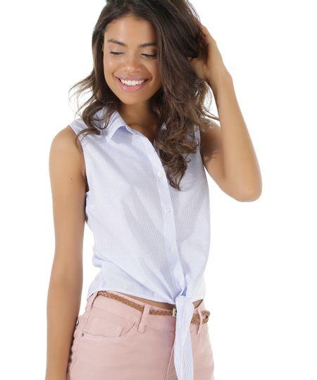 Camisa Listrada com Amarração Branca