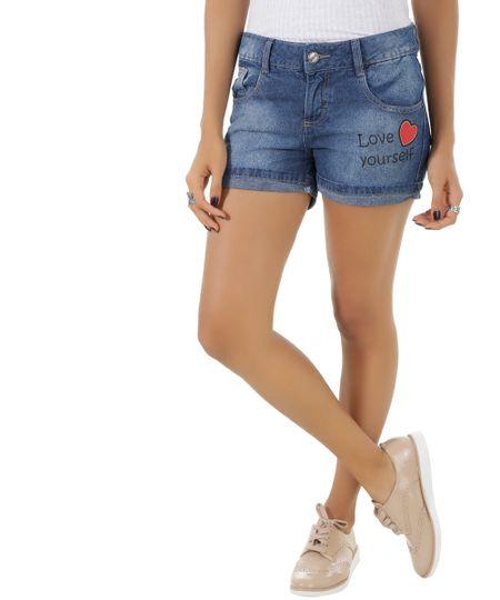 Short Jeans com Patch Azul Médio