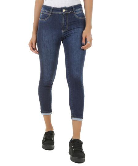 Calça Jeans Cropped Sawary Azul Escuro