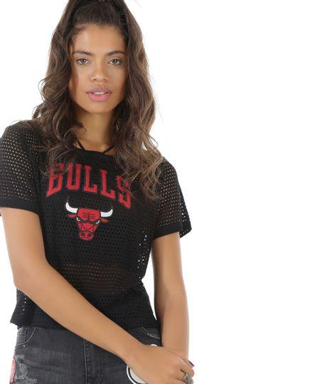 Blusa Cropped NBA Chicago Bulls Preta