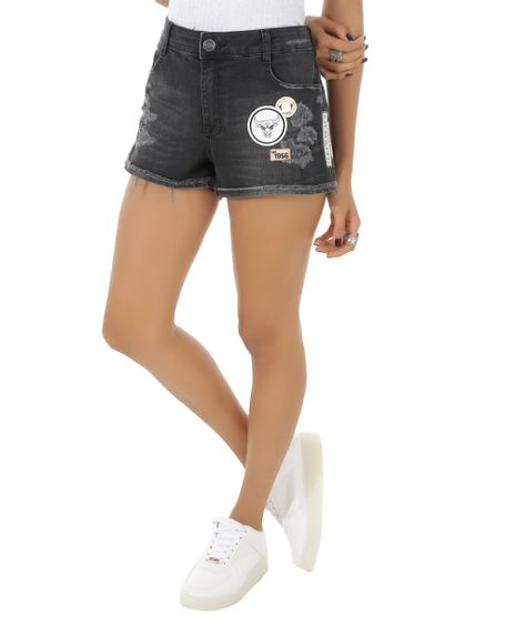 Short-Jeans-Relaxed-NBA-Chicago-Bulls-Preto-8553304-Preto_1