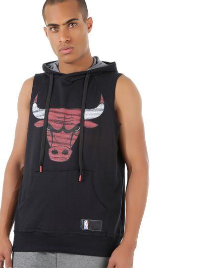 Regata com Capuz NBA Chicago Bulls Preta