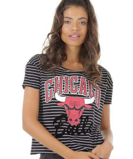 Blusa Listrada NBA Chicago Bulls Preta