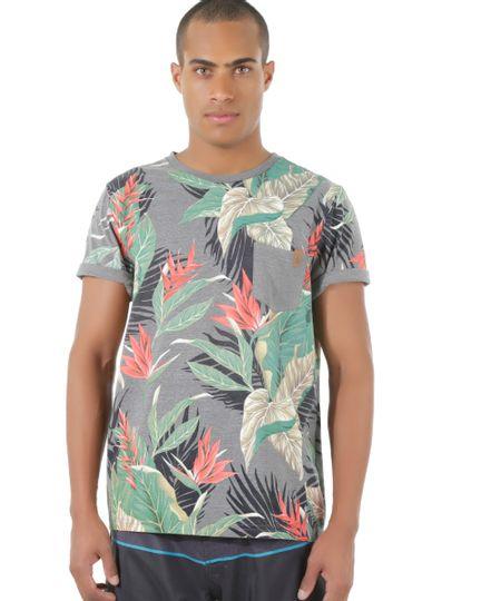 Camiseta Estampada Tropical Rico de Souza Cinza Mescla