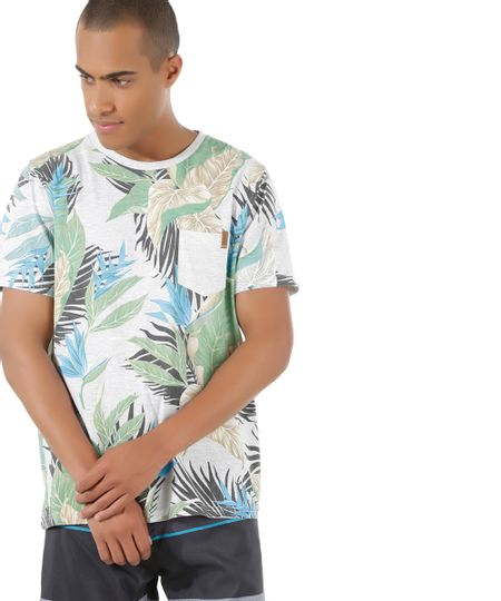 Camiseta Estampada Tropical Rico de Souza Cinza Mescla Claro
