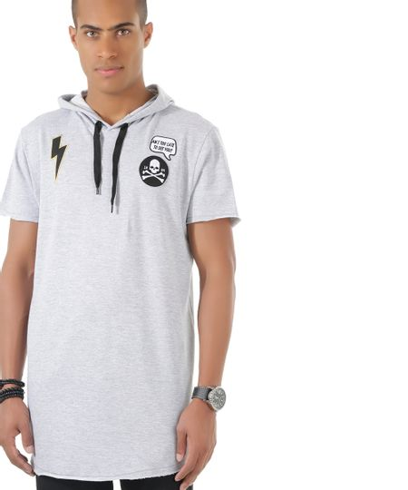 Camiseta Longa em Moletom Cinza Mescla
