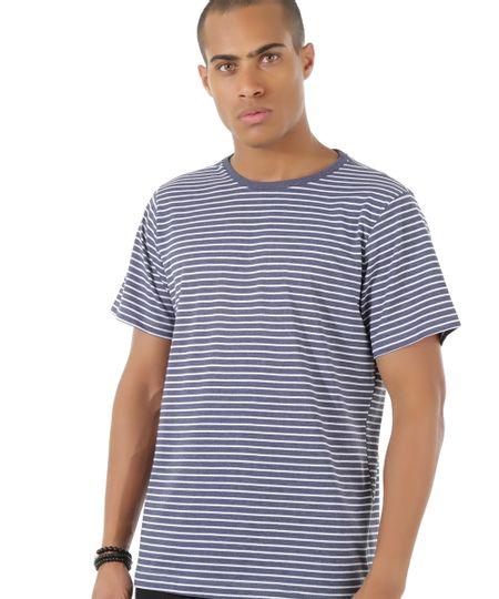 Camiseta Listrada Azul Marinho