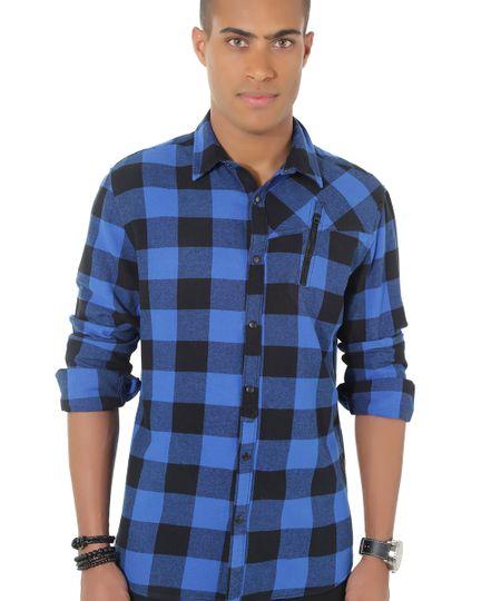 Camisa Xadrez em Flanela Azul