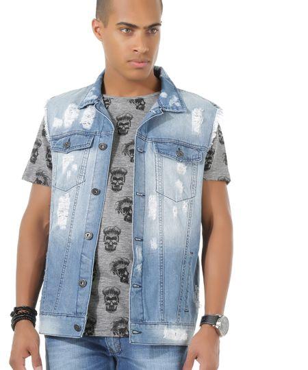 Colete Jeans Azul Médio