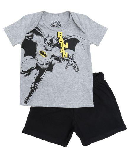 Conjunto de Camiseta Cinza Mescla + Bermuda Batman Preta