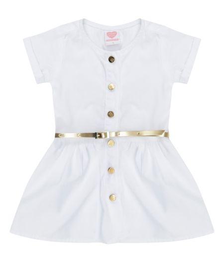 Vestido com Cinto Branco