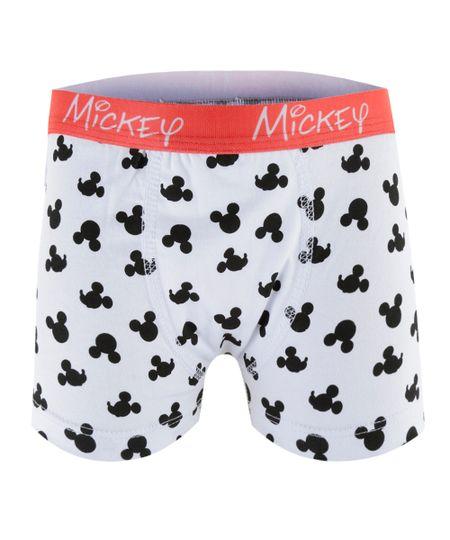 Cueca Boxer Estampada Mickey Branca
