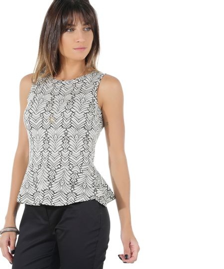 Regata Peplum Estampada Geométrica Off White