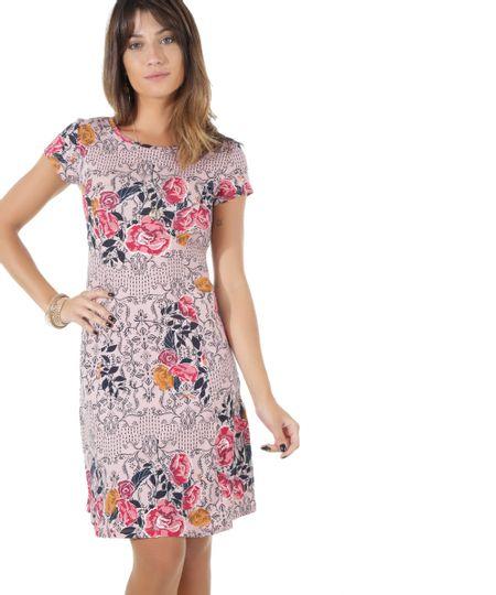 Vestido Estampado Floral Rosa Claro
