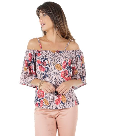 Blusa Open Shoulder Estampada Floral Rosa