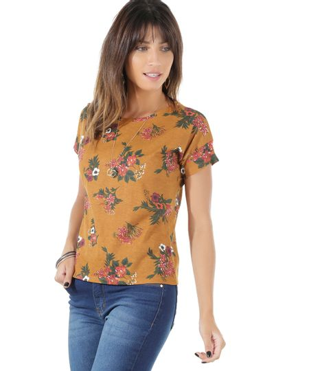 Blusa Estampada Floral Caramelo