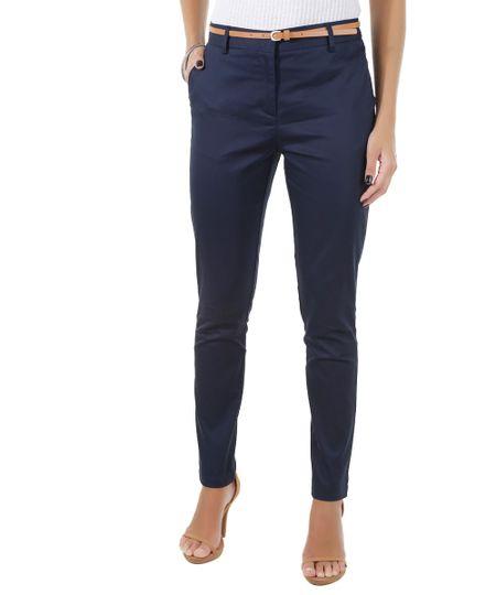 Calça Skinny com Cinto Azul Marinho