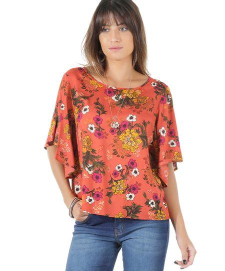 Blusa Estampada Floral Laranja