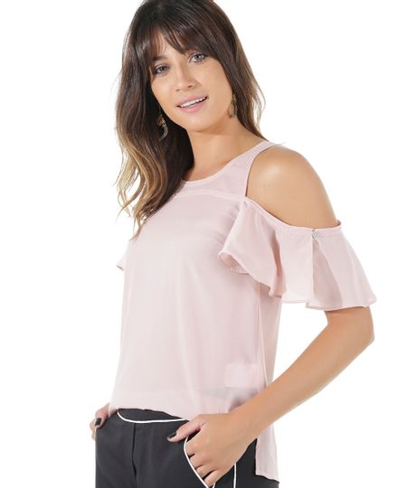 Blusa Open Shoulder Rosa Claro