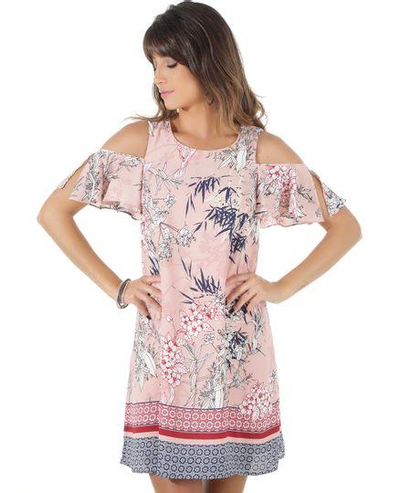 Vestido Open Shoulder Estampado Floral Rosa Claro