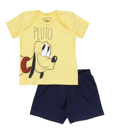 Conjunto de Camiseta Amarela + Bermuda Pluto Preta