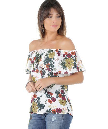 Blusa Ombro a Ombro Estampado Floral Off White
