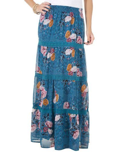 Saia Longa Estampada Floral Azul Petróleo