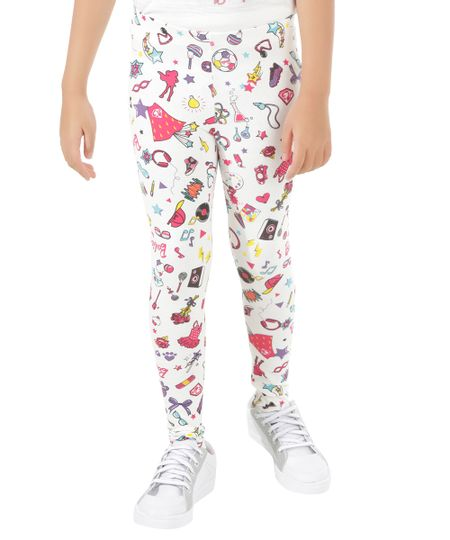 Calça Legging Estampada Barbie Off White