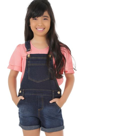 Jardineira Jeans Azul Escuro