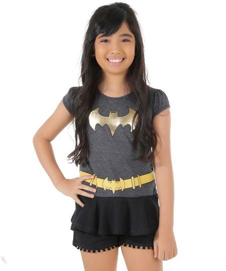 Blusa Fantasia Batman Cinza Mescla Escuro