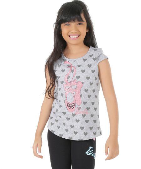 Blusa Estampada Barbie Cinza Mescla