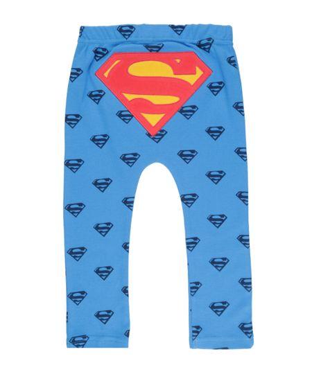 Calça Estampada Super Homem em Algodão + Sustentável Azul