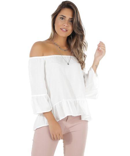 Blusa Ombro a Ombro Texturizada Off White